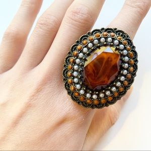 Stretchy Stone Oval Statement Ring